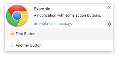 Web notification with action buttons