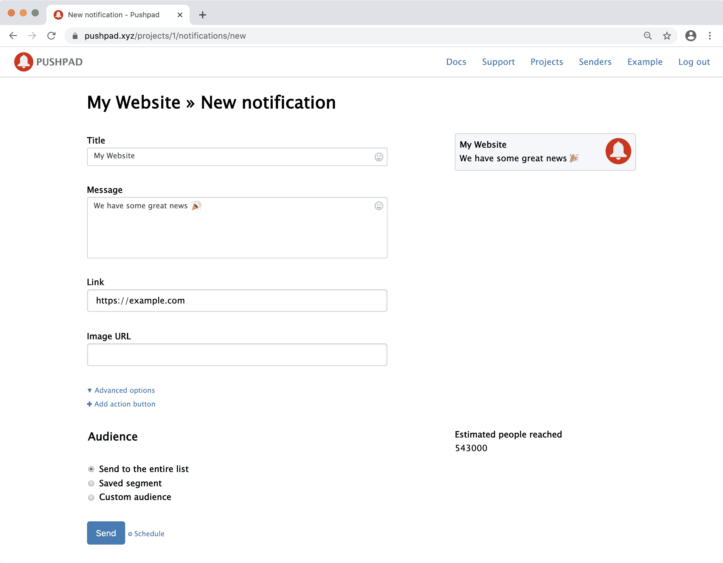 Sending a web push notification from the Pushpad dashboard