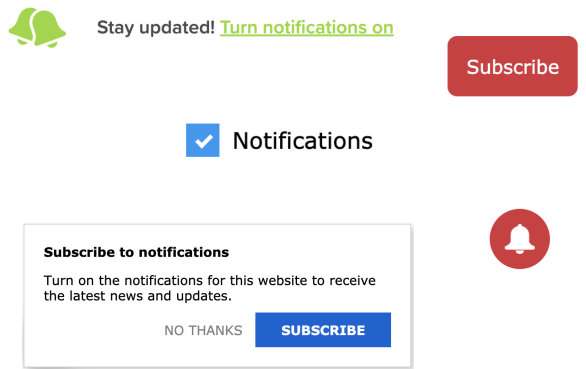 Different ways for subscribing the user to notifications (custom permission prompt, bell, button, checkbox and more)