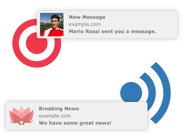 Examples of web push notifications