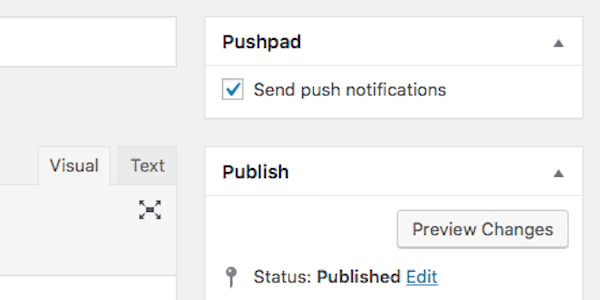 Sending the notifications using the Wordpress plugin